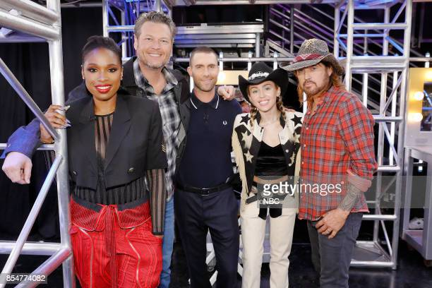 THE VOICE 'Blind Auditions' Episode 1302 Pictured Jennifer Hudson Blake Shelton Adam Levine Miley Cyrus Billy Ray Cyrus