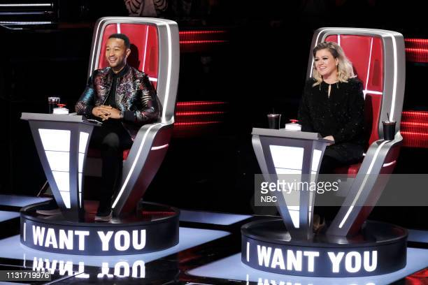 THE VOICE Blind Auditions Episode 1606 Pictured John Legend Kelly Clarkson
