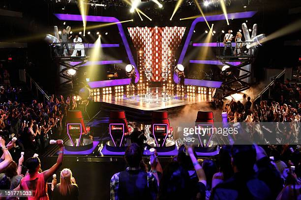 THE VOICE Blind Auditions Episode 301 Pictured Blake Shelton CeeLo Green Adam Levine Christina Aguilera