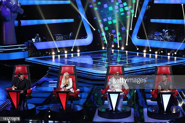 THE VOICE Blind Auditions Episode 301 Pictured Blake Shelton Christina Aguilera CeeLo Green Adam Levine Terry McDermott
