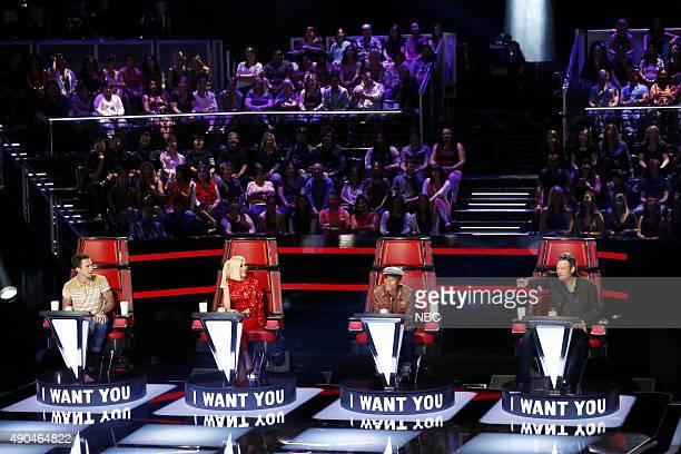 "Blind Auditions"" -- Pictured: Adam Levine, Gwen Stefani, Pharrell Williams, Blake Shelton --"