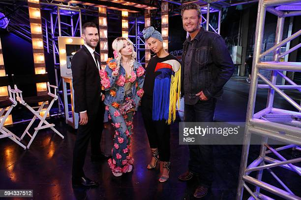 THE VOICE 'Blind Auditions' Pictured Adam Levine Miley Cyrus Alicia Keys Blake Shelton