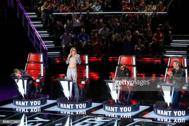 THE VOICE Blind Auditions Pictured Adam Levine Miley Cyrus Jennifer Hudson Blake Shelton