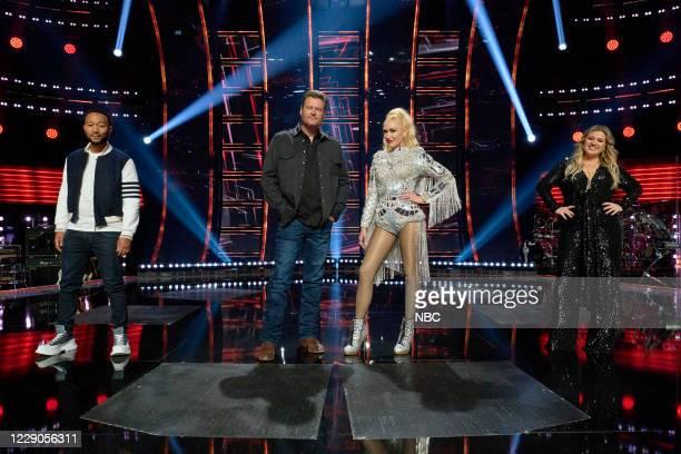 "Blind Auditions"" -- Pictured: John Legend, Blake Shelton, Gwen Stefani, Kelly Clarkson --"