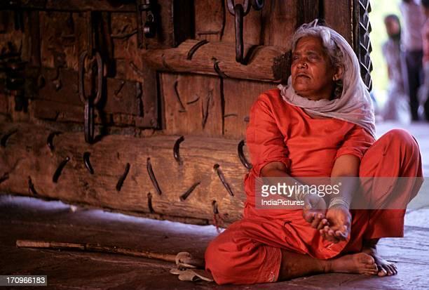 Blind beggar woman Jama Masjid Delhi India