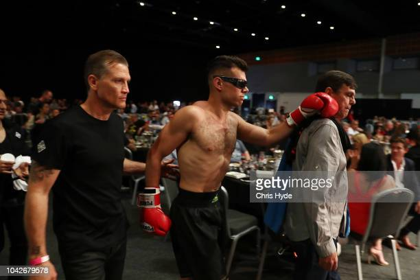 Blind boxer Zac Clarkson arrives for his fight against Damien Williams during David and Goliath Fight Night Both fighters are clinically blind and...