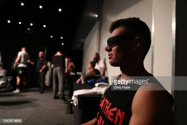 Blind boxer Zac Clarkson wait for his fight against Damien Williams during David and Goliath Fight Night on September 28 2018 in Gold Coast Australia