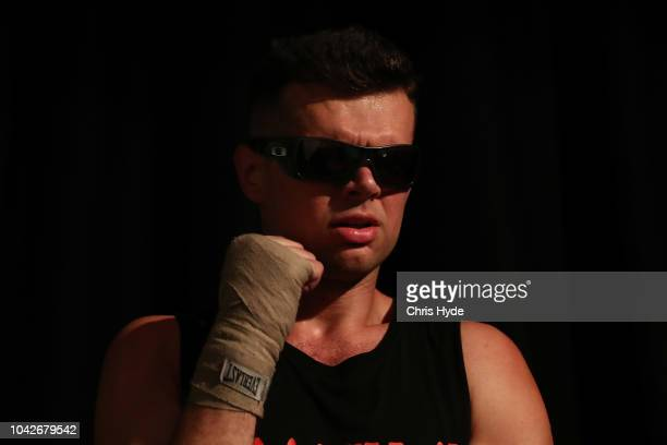 Blind boxer Zac Clarkson waits for his fight against Damien Williams during David and Goliath Fight Night Both fighters are clinically blind and...