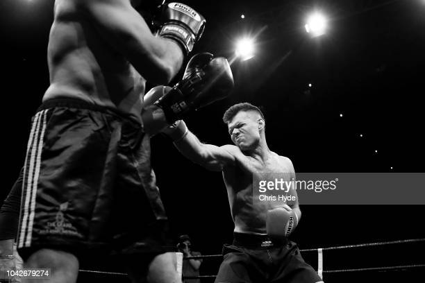 Blind boxer Zachariah Clarkson punches Damien Williams during David and Goliath Fight Night Both fighters are clinically blind and attached with a...