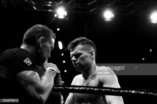 Blind boxer Zachariah Clarkson waits for his fight against Damien Williams during David and Goliath Fight Night Both fighters are clinically blind...