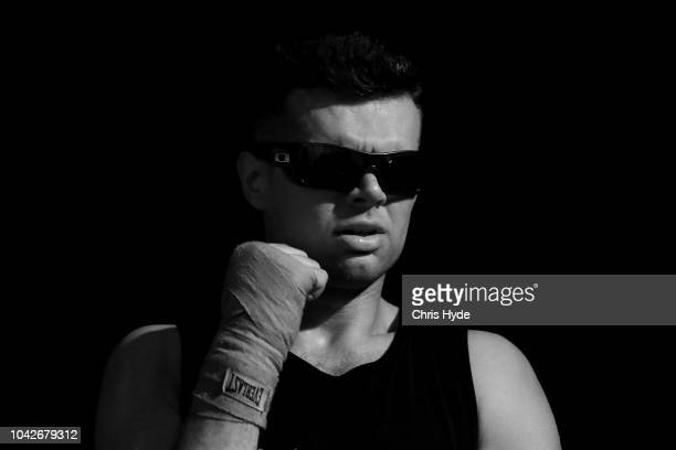 Blind boxer Zachariah Clarksonwaits fot his fight against Damien Williams during David and Goliath Fight Night Both fighters are clinically blind and...