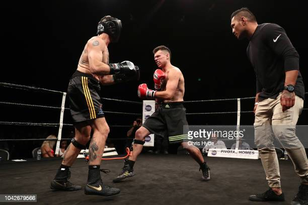 Blind boxers Zac Clarkson and Damien Williams during David and Goliath Fight Night Both fighters are clinically blind and attached with a leg rope on...
