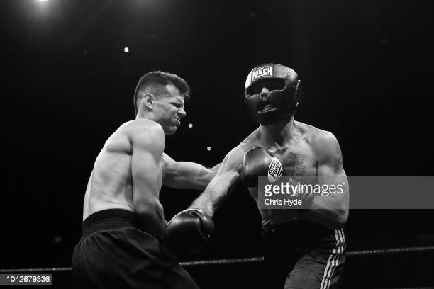 Blind boxers Zachariah Clarkson and Damien Williams during David and Goliath Fight Night Both fighters are clinically blind and attached with a leg...