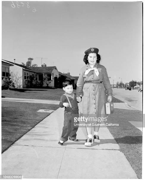 Blind children, 13 February 1953. Douglas Mandell -- 3 1/2 years ;Terry Erell -- 4 years;Donna Sandler -- 4 years;Mrs Gail Sullivan;Inez Sullivan --...