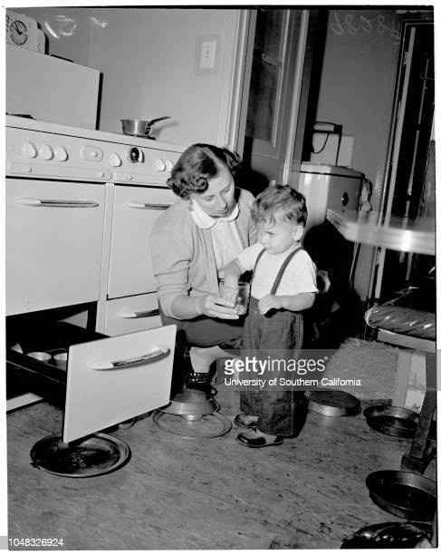 Blind children, 13 February 1953. Douglas Mandell -- 3 1/2 years ;Terry Erell -- 4 years;Donna Sandler -- 4 years;Mrs Gail Sullivan;Inez Sullivan --...
