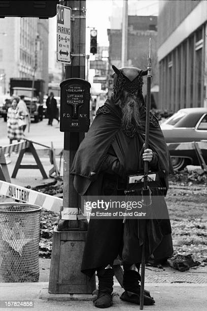 Blind composer, musician, poet and street performer Moondog poses for a portrait on May 3, 1967 near the corner of 52nd Street and Sixth Avenue, a...