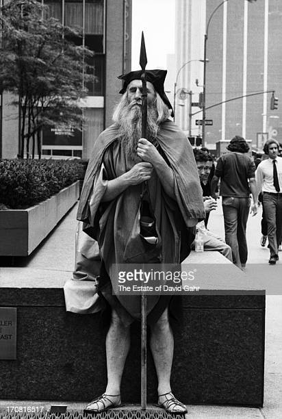 Blind composer, musician, poet and street performer Moondog poses for a portrait in July, 1970 near the corner of 52nd Street and Sixth Avenue where...