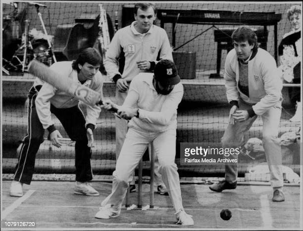 Blind cricket match in Martin place for the royal blind societyNSW players Steve Waugh Dirk Wellham and David Gilbert ready to catch partially blind...