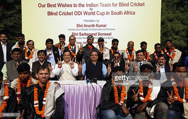 Blind Cricket Players with Minister of State for Youth Affairs and Sports Sarbananda Sonowal and Minister for Chemicals and Fertilizers Ananth Kumar...