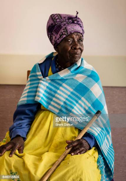 A blind Damara Nama woman Theresa Tsamasas is seen waiting to be screened after arriving from Okombei a location over 100 kilometers away at Omaruru...