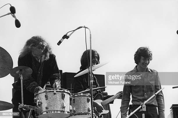 Blind Faith perform on stage in Hyde Park London 7th June 1969 Left to right Ginger Baker Eric Clapton Steve Winwood