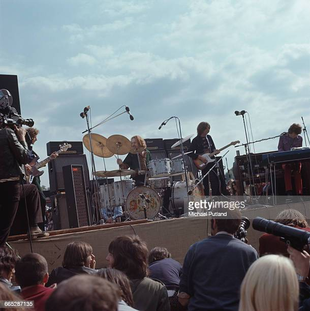 Blind Faith perform on stage in Hyde Park London 7th June 1969 Left to right Rick Grech Ginger Baker Eric Clapton and Steve Winwood