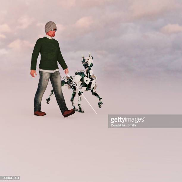 Blind man walking with a futuristic robot guide dog