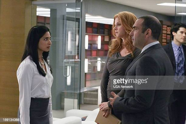 SUITS Blind Sided Episode 211 Pictured Aarti Mann as Maria Sarah Rafferty as Donna Rick Hoffman as Louis Litt