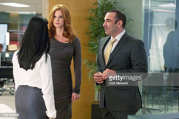 SUITS 'Blind Sided' Episode 211 Pictured Aarti Mann as Maria Sarah Rafferty as Donna Rick Hoffman as Louis Litt