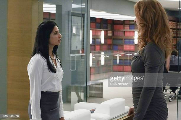 SUITS Blind Sided Episode 211 Pictured Aarti Mann as Maria Sarah Rafferty as Donna