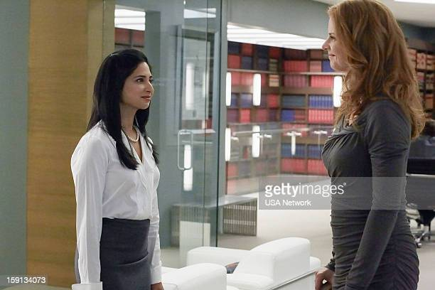 SUITS 'Blind Sided' Episode 211 Pictured Aarti Mann as Maria Sarah Rafferty as Donna