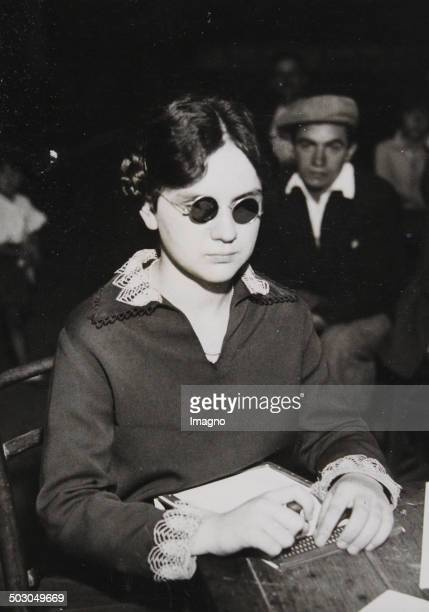 A blind typist wins a French competition in AulnaysousBois September 1933 Photograph