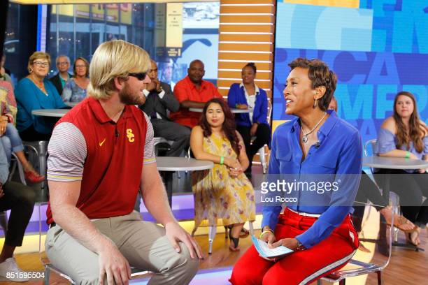 AMERICA Blind University of Southern California Football player Jake Olson is a guest on 'Good Morning America' on Friday September 22 airing on the...