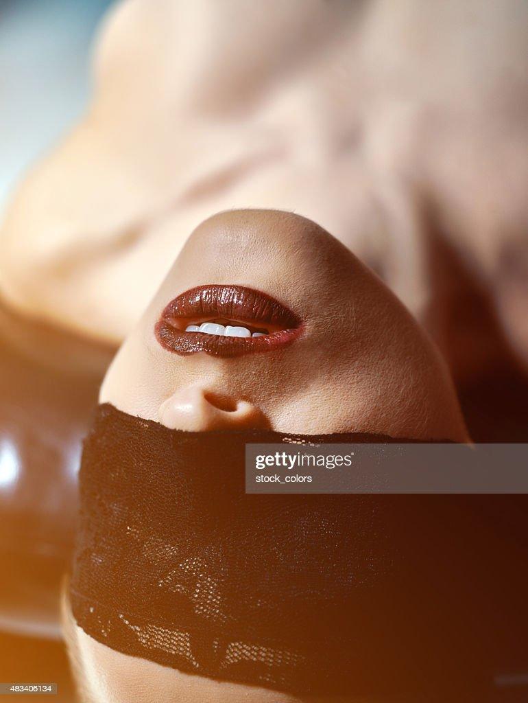 Mit verbundenen Augen Gefühle : Stock-Foto