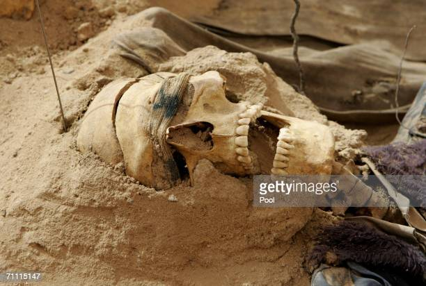 A blindfolded human skull lies in a mass grave of people allegedly executed during the regime of former Iraqi President Saddam Hussein after they...