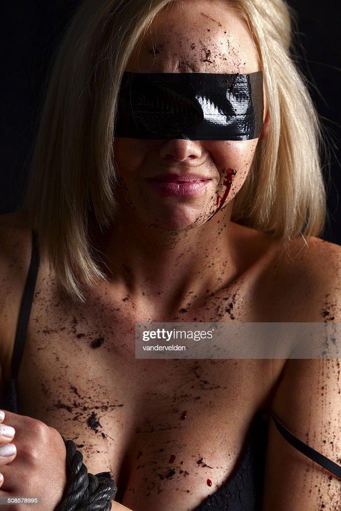 Mit verbundenen Augen In Schwarz : Stock-Foto