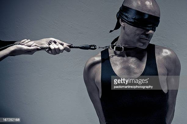 blindfolded man on a leash by female hands - women dominating men stock photos and pictures
