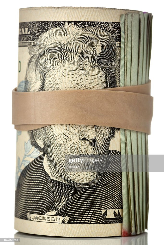 blindfolded roll of cash : Stock Photo