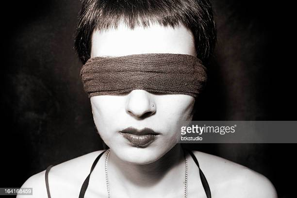 blindfolded woman lips - beautiful dominant women stock pictures, royalty-free photos & images