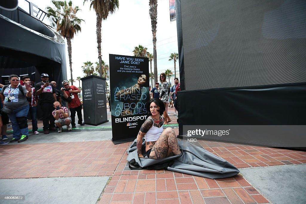 SAN DIEGO 2015 -- 'Blindspot' Jane Doe - Duffel Bag Stunt -- Pictured: Jane Doe Look-A-Like, Thursday, July 9, 2015, from Tin Fish Gaslamp, San Diego, Calif. --