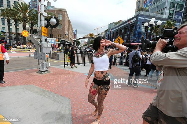 DIEGO 2015 'Blindspot' Jane Doe Duffel Bag Stunt Pictured Jane Doe LookALike Thursday July 9 from Tin Fish Gaslamp San Diego Calif