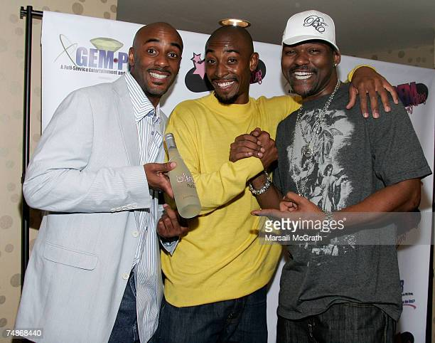 Bling h20 coowner Dave Brown actor Darris Love and actor Gary Anthony Sturgis attend the GEM luxury gift lounge in celebration of the BET Awards held...