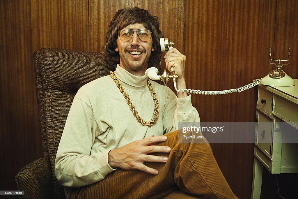 Bling Retro Mustache Man on Phone : Stock Photo