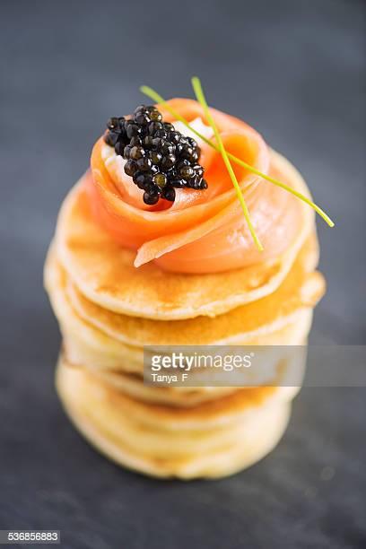 Blini with Smoked Salmon and Caviar