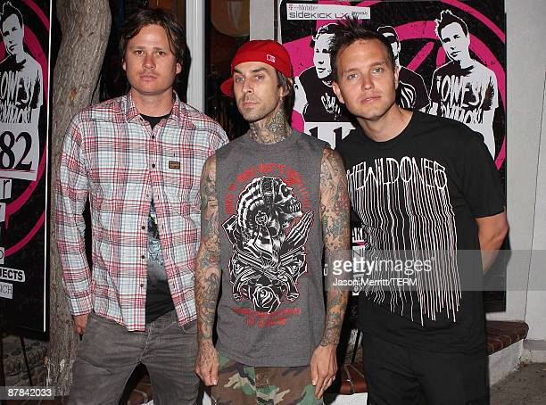 Blink 182 band members Travis Barker, Mark Hoppus, and Tom Delonge at the Blink 182 summer tour launch party at El Compadre Restaurant on May 18,...