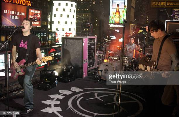 Blink 182 during Kid Rock Blink 182 and Puddle of Mudd Visit MTV's TRL During Spankin' New Music Week November 11 2003 at MTV Studios Times Square in...