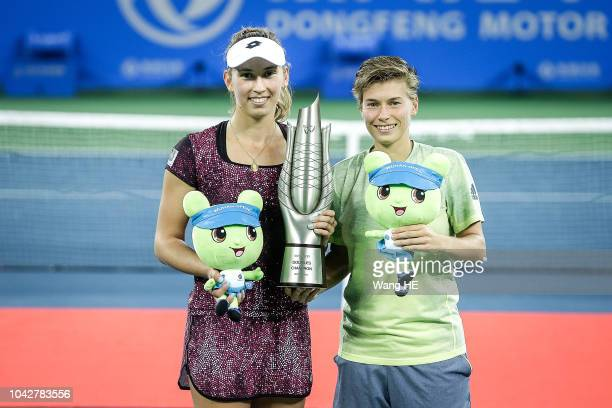 Blise Mertens of Belgium and Demi Schuurs of Netherland pose with the trophy after their victory Andrea Sestini Hlavackova and Barbora Strycova of...