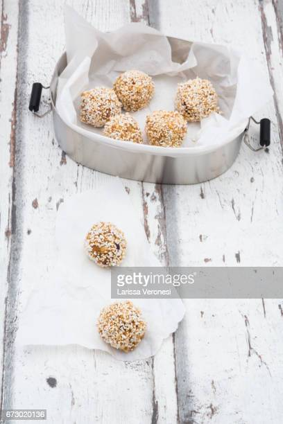 Bliss balls in lunch box