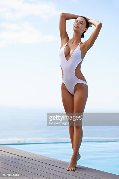 blissfully sun-kissed - one piece swimsuit stock pictures, royalty-free photos & images