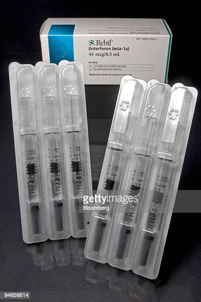 Blister packs of syringes of Serono's multiple sclerosis drug Rebif are arranged at Skenderian Apothecary in Cambridge Massachusetts Thursday...